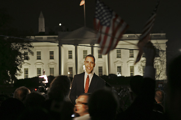 Barack Obama supporters celebrate his election night victory outside the White House in Washington D.C.