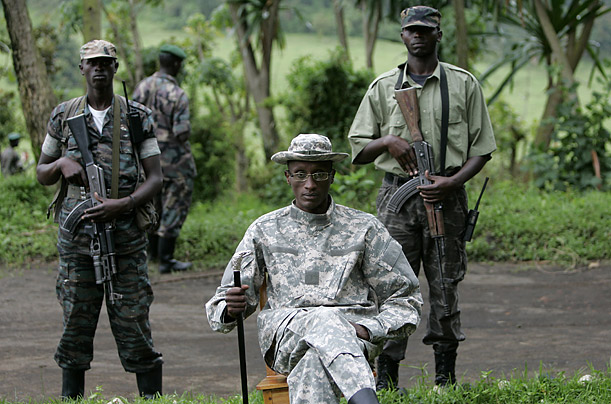 Laurent Nkunda is surrounded by soldiers at his base in Tebero, Congo.