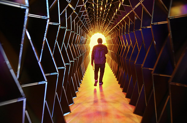 Icelandic installation artist Olafur Eliasson walks through his installation titled