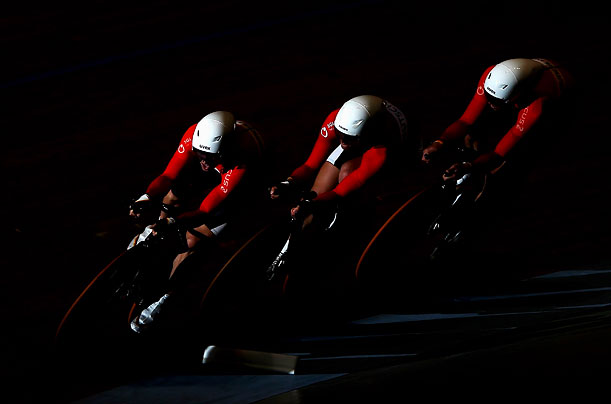 The team from Germany compete in the Men's Team Pursuit during day two of the UCI Track World Cup in Melbourne, Australia.