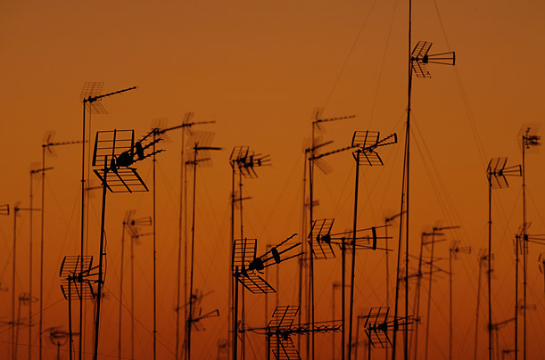 Television antennas sprout from the roofs of buildings near Seville, Spain. November 21 is World Television Day