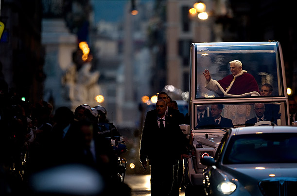 Pope Benedict XVI leaves Spanish Square saying a prayer in honor of the Virgin Mary at the foot of the Spanish Steps in Rome.