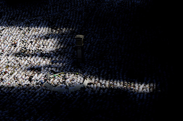 Muslim faithful circle the Kaaba inside the Grand Mosque in Mecca during the annual Hajj.