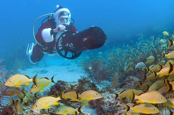 Santa uses a sea scooter to guide him past a school of grunts in the Florida Keys National Marine Sanctuary near Key Largo, Florida.