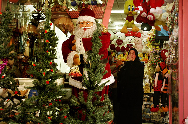Iraqis shop for Christmas presents in Baghdad, Iraq.