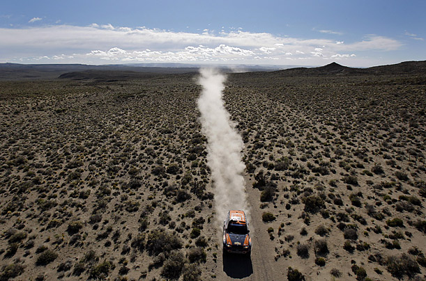 Driver Nasser Saleh Al Attiyah of Qatar competes in the Argentina Dakar Rally 2009.