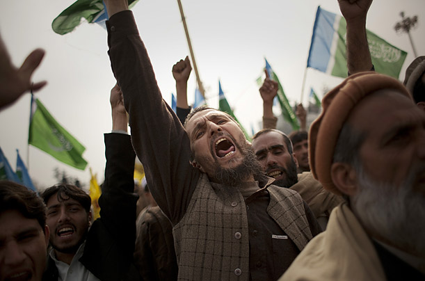 Tribesmen protest military operations in tribal areas during a demonstration near the federal parliament in Islamabad, Pakistan.
