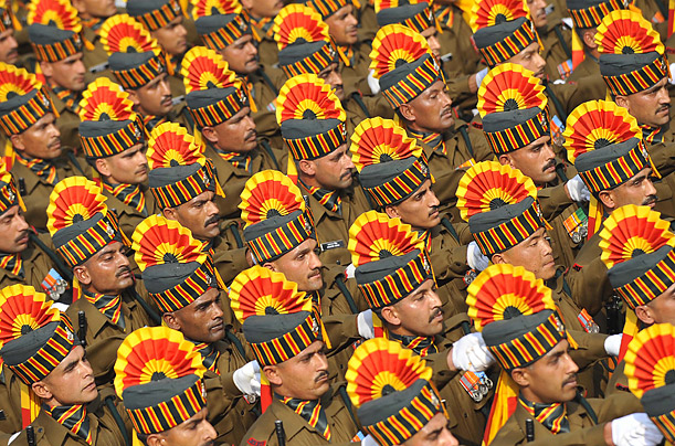 Soldiers march during India's Republic Day parade in New Delhi.