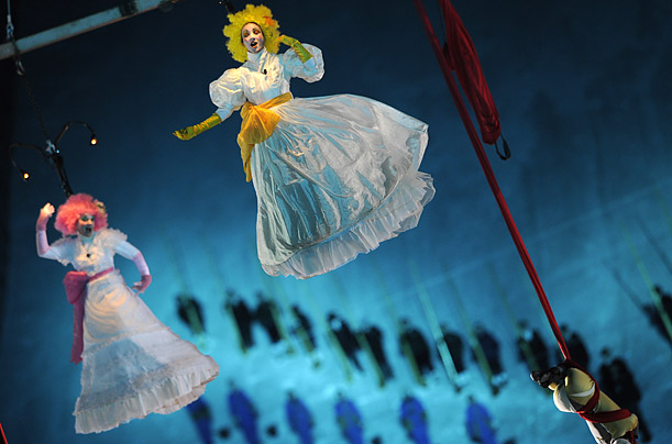Dancers perform during the opening ceremony of the World Ski Championships in Val D'Isere, France.