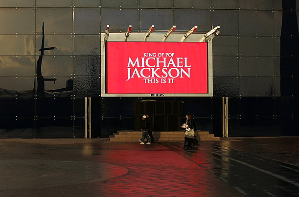 An electronic billboard outside the Dome arena in London, announces Michael Jackson's comeback.