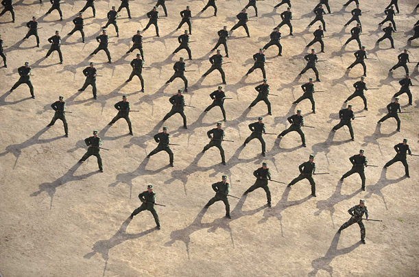 Paramilitary recruits attend a training session at a military base in Wuhan, Hubei province, China.