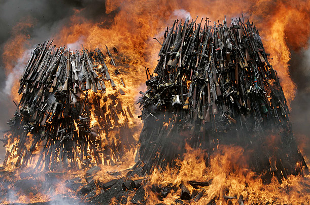 A pile of small firearms and light weapons are set ablaze in Nairobi, Kenya.