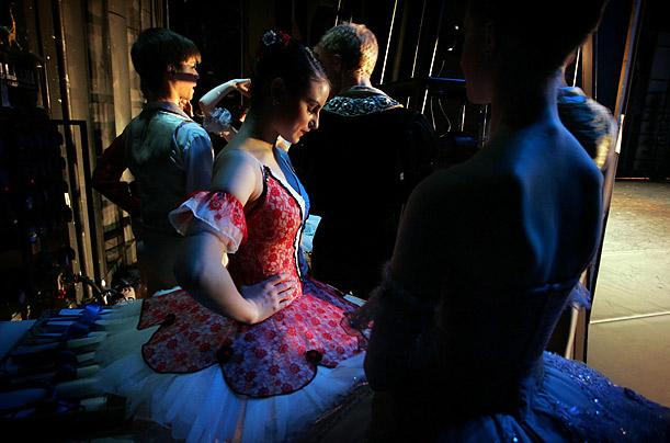 Ballet dancers prepare to go on stage at the gala final of the tenth Young British Dancer of the Year competition at the Royal Opera House in London.