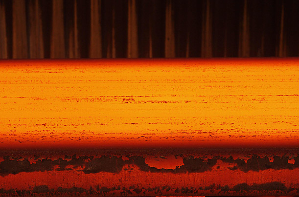 A steel slab leaves a continuous caster at a steel plant in Salzgitter, Germany.