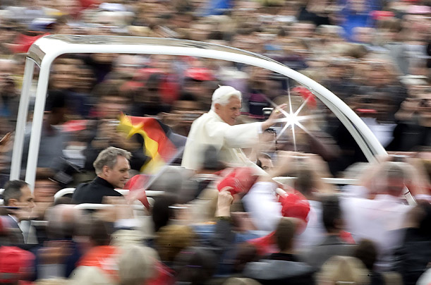 Pope Benedict XVI arrives to lead his weekly audience in Saint Peter's Square at the Vatican.