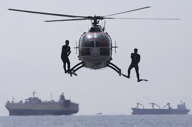 Members of the Philippine Coast Guard train to respond in case of a deadly supertyphoon in the Philippines.