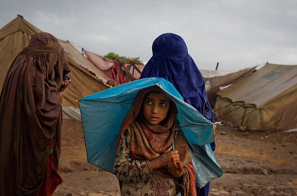 This young Pakistani girl waits at a camp for people displaced by fighting between the Taliban and the government.
