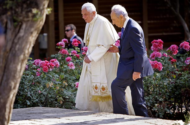 Pope Benedict XVI meets with Israeli President Shimon Peres during a five day tour in the Middle East.