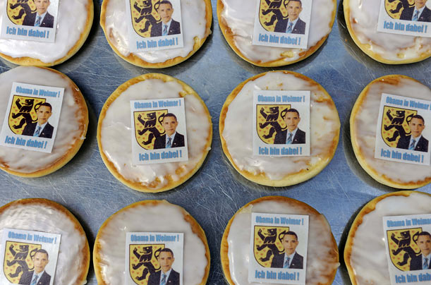 Cakes named 'Obama Americans' lie in a bakery in Weimar, Germany.
