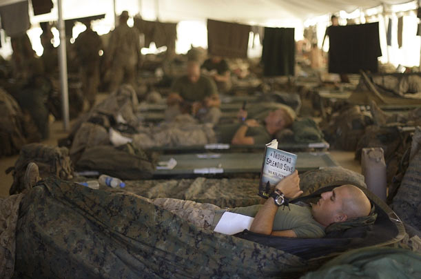 U.S. Marines from the 2nd Marine Expeditionary Brigade rest inside a tent at Camp Leatherneck in Afghanistan's Helmand province.