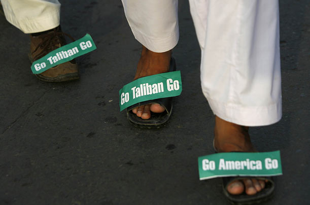 Supporters of the Sunni Tehreek religious party take part in an anti-Taliban and anti-U.S. march in Lahore, Pakistan.