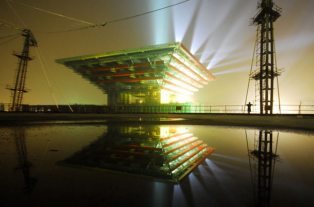 The Chinese Pavilion at the Shanghai World Expo 2010 site lights up the night in Shanghai, China.