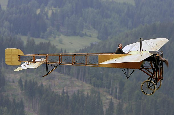 A Bleriot XI aircraft from 1908 performs during an airplane show in Zeltweg, Austria.