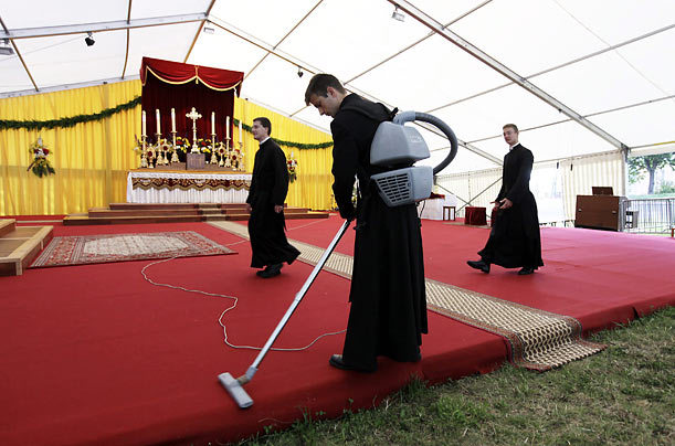 Clerics prepare for an ordination ceremony in Econe, Switzerland.