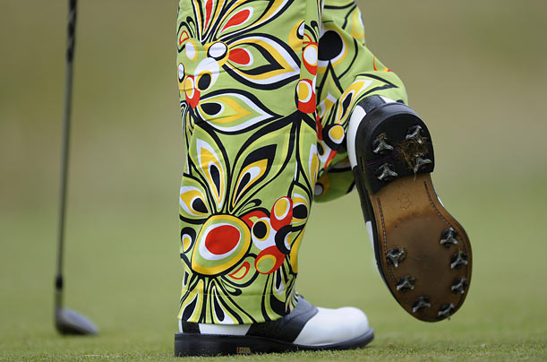 John Daly of the U.S. waits to tee off during the second round of the British Open Golf Championship at the Turnberry Golf Club in Scotland.