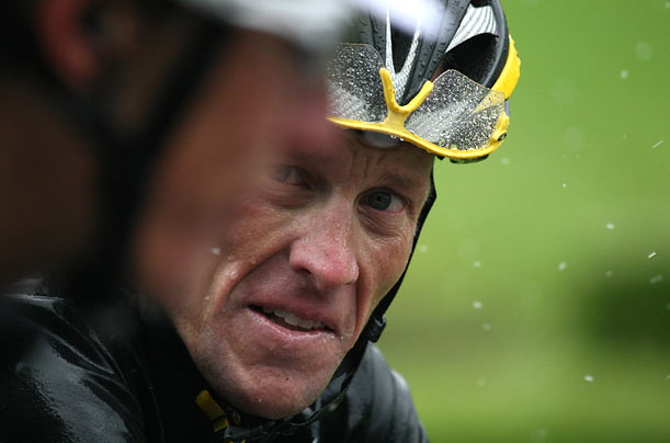 Seven-time Tour de France winner and member of the cycling team Astana Lance Armstrong rides in the thirteenth stage of the 2009 Tour de France.