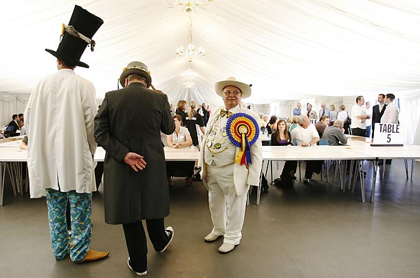 Members of England's Official Monster Raving Loony Party attend the Norwich by-election count.
