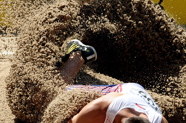 Roman Sebrle of the Czech Republic competes in the long jump event of the Decathlon  at the 12th IAAF World Championships in Athletics in Berlin.