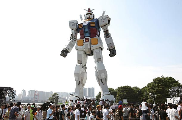 A 54 foot tall statue of Gundam, a robot from an animated series stands in Shiokaze Park in Tokyo as the centerpiece of the Green Tokyo Gundam Project intended to raise environmental awareness.