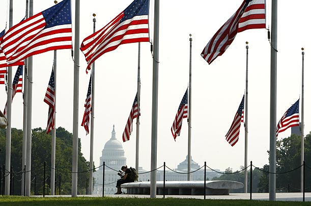Flags stand at half-staff at the Washington Monument in honor of Senator Edward Kennedy's death.