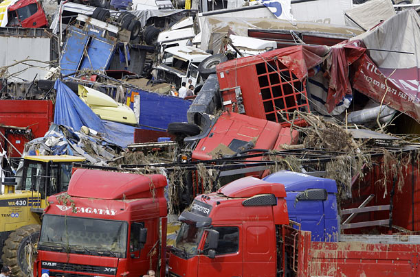 Flash floods have left a wake of destruction in Istanbul, Turkey.
