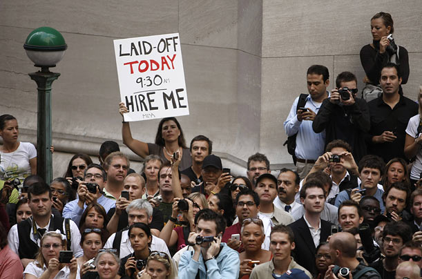 A crowd appears outside Federal Hall on Wall Street where President Obama was promoting regulatory reform.