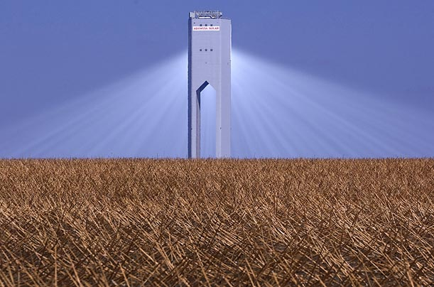 The most powerful commercial solar tower in the world, the new PS20, stands at the Solucar Platform in Sanlucar la Mayor, southern Spain.