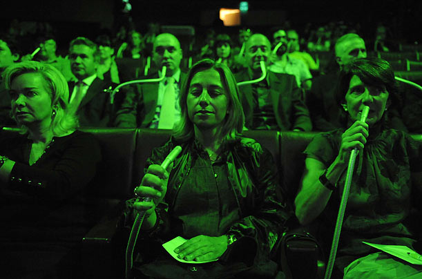 Audience members listen to and smell Green Aria, described by its writer and director Stewart Matthew as a