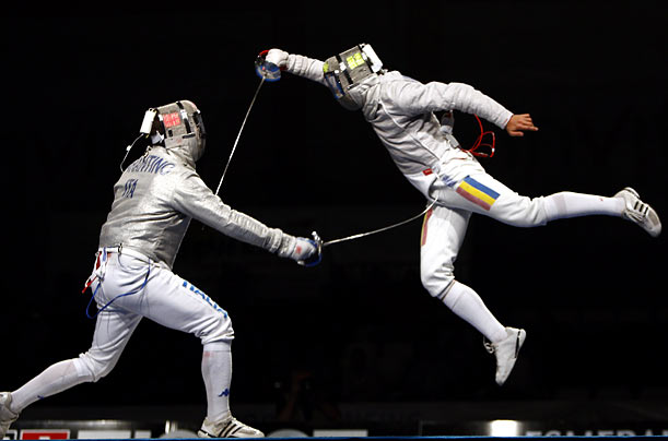 Two men compete at the World Fencing Championships in Antalya, Turkey.