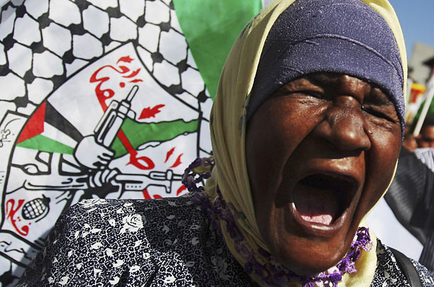 A Palestinian supporter of the ruling Fatah party chants anti-Israel slogans during a rally in the West Bank city of Ramallah.