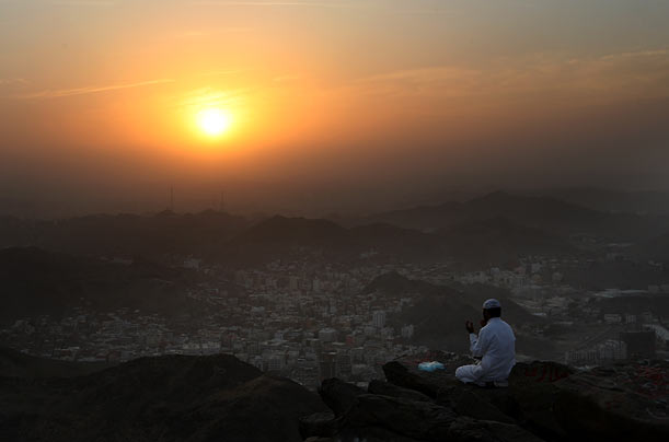 A Muslim pilgrim prays near where the Prophet Mohammed is said to have received his inspiration to preach Islam.