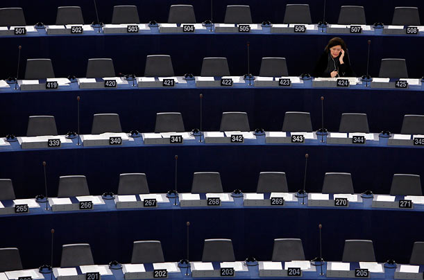 Christine de Veyrac, a French member of the European Parliament, attends a debate on the upcoming Copenhagen summit on climate