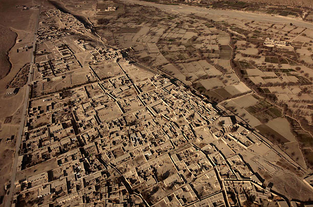 A view from a helicopter shows houses near Forward Operating Base Clark and Salerno in Khost province, Afghanistan.