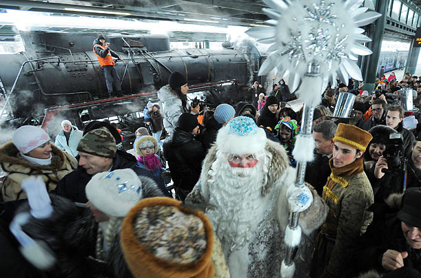 Ded Moroz (Russian Santa Claus) is welcomed upon his arrival at St. Petersburg's Ladozhsky railway station.