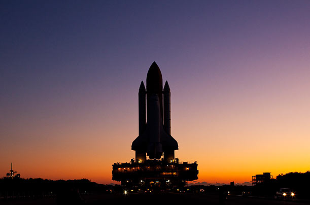 Space Shuttle Endeavour rolls to launch pad 39-a at the Kennedy Space Center in Cape Canaveral, Florida.