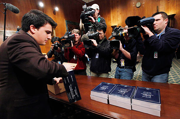 Copies of President Barack Obama's budget are laid out for the Senate Budget Committee on Capitol Hill.