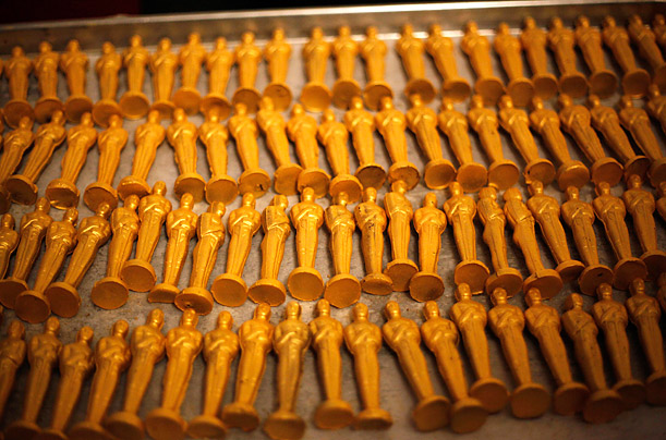 Oscar-shaped desserts are displayed at a preview of food scheduled to be served at the Governors Ball after the conclusion of the Academy Awards on March 7.