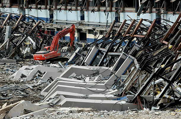 Demolition workers tear down Yankee Stadium in the Bronx, New York.