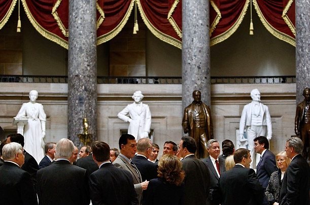 Congressional Republicans gather in Statuary Hall before a strategy meeting at the U.S. Capital.