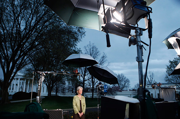 Health and Human Services Secretary Kathleen Sebelius is interviewed outside the White House in Washington, Monday, March 22, 2010.